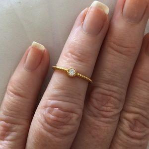Sterling cz gold toe/midi ring